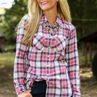 BCBGeneration: It's A Plaid World Top-Pink