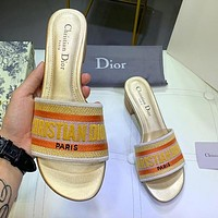 Dior Summer Fashion Women Retro Sandals Shoes High Heels