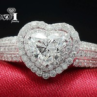 YaYI Jewelry Fashion  Princess Cut Huge 4.5 CT White Zircon Silver Color Engagement Rings wedding Rings Party Rings