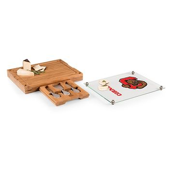 Cornell Big Red - Concerto Glass Top Cheese Cutting Board & Tools Set, (Bamboo)