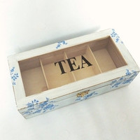 Wooden Tea Box with Compartments Rustic Chic Home Decor Country Cottage Organizer Box Storage Box Shabby Decor Jewelry Box Blue Flowers