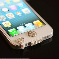 White Bling Luxary Crystal Diamond Anti Dust Dock Charger Port Plug+Ear Plug+Home Button For iPhone 5 5G:Amazon:Cell Phones & Accessories
