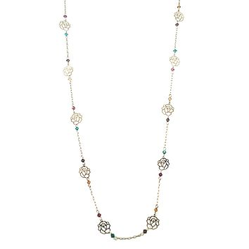 Cut Out Rose Gold Chain Link Rainbow Bead Necklace