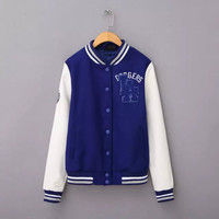 Blue And White Embroidered Button Baseball Jacket