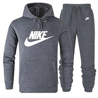 NIKE classic big logo solid color loose men and women sports suit two-piece