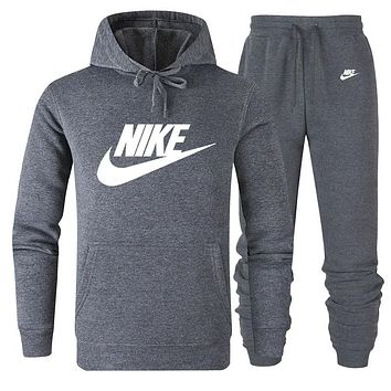 NIKE 2019 new classic big logo solid color loose men and women sports suit two-piece Grey