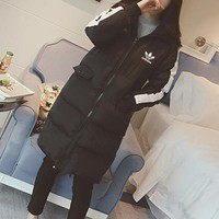 Adidas Women Multicolor Hooded Long Sleeve Zip Cardigan Long Section Cotton Clothes Coat