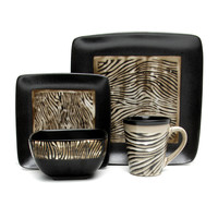 Gibson Mountain Zebra 16 pc Dinnerware set (Square)