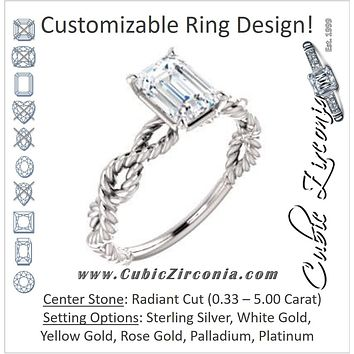 Cubic Zirconia Engagement Ring- The Jazzlyn (Customizable Radiant Cut Solitaire with Infinity-inspired Twisting-Rope Split Band)