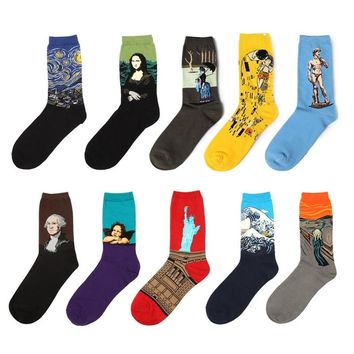 Men&Women 3D Retro Van Gogh Oil Painting Art socks Funny Cotton Patterned Starry Night in Tube Socks For Women