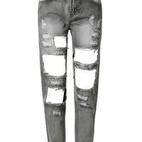 Smoke Gray Distressed Cut Out Boyfriend Jeans