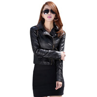 2016 Women Leather Motorcycle Zipper Collar Punk Coat Biker Jacket Outwear Fashion Newest Basic Coats