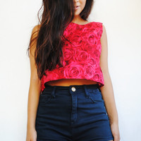Red Rose Tank Top by VintageDivinitiess on Etsy