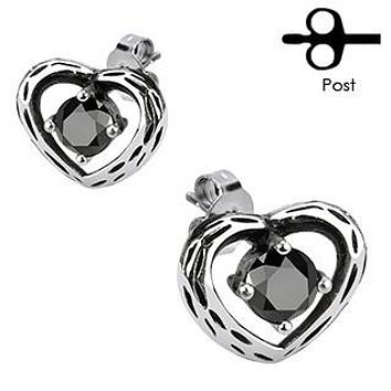 Darklight - Antiqued Hearts and Gems Stainless Steel Classy Design Earrings