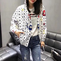 """Louis Vutitton"" Women Casual Personality Pattern Logo Print Zip Cardigan Long Sleeve Hooded Coat Sun Protection Clothing"