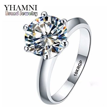 YHAMNI Real Pure Gold Color Ring with 18KRGP Stamp Set 3 Carat CZ Diamant Wedding Rings For Women SIZE 5 6 7 8 9 10 11 AR168