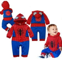 Newborn Toddler superman Baby boy clothes Romper Spiderman Long Sleeve with Smock Infant Cartoon Christmas Costume set