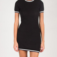 Sporty BodyCon Shirt Dress - Black - Large