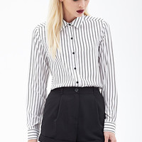 FOREVER 21 Sheer Striped Blouse White/Black