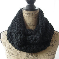 SALE RTS Ryan Black Handmade Crochet Knit Infinity Scarf Cowl Necklace Accessory
