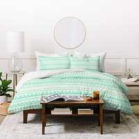 Allyson Johnson Mint Tribal Duvet Cover
