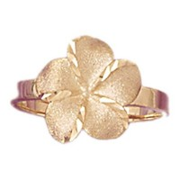 Yellow Gold-plated 925 Sterling Silver Plumeria Ring - 2.22 grams