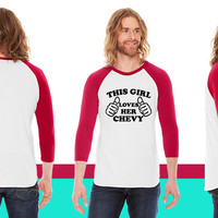 This Girl Loves Her Chevy American Apparel Unisex 3/4 Sleeve T-Shirt