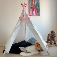 Childrens Teepee Play Tent Tipi Kids Plain Canvas Painted Poles Indoor Fun