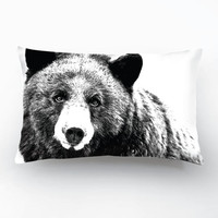 NEW! Wildlife Bear Design, Black&White Decorative Pillow Cover, Handmade