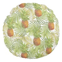 Watercolor Pineapple Pattern Round Pillow