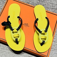 Hermes sandals candy-colored pig nose slippers herringbone slippers yellow