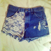 High waisted medium blue shorts with lace front waist sizes 22,23,24,25,26,27,28,29,30,31,32 available and young girls sizes too