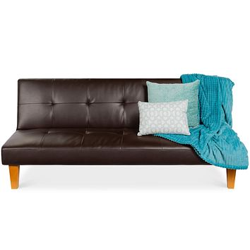 Best Choice Products Convertible Lounge Sofa Bed w/Adjustable Back, Wood Frame, Faux Leather, Tufted Design - Brown