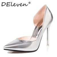 DEleven Wedding shoes Sexy Stiletto High heels Shoes Open Side Pumps Shoes V shaped bevel Pointed toe Woman Shoes Gold Silver
