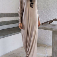Gray Ruched Long Sleeve Maxi Dress