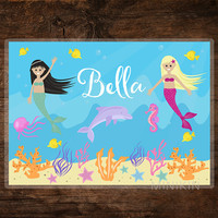 Large Kids Art Placemat Personalised Mermaid Sea Dolphin Seahorse Fish Ocean Beach Girls Children Wipe Clean  297mm x 420mm A3 Printed