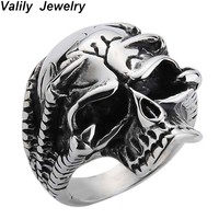 Valily Men Ring Skull Silver Black Punk Skeleton Claw Ring For Men Stainless Steel Ring Jewelry Hip Hop Party Christmas Gift