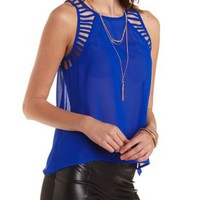 Bright Cobalt Strappy Cut-Out Chiffon Tank Top by Charlotte Russe