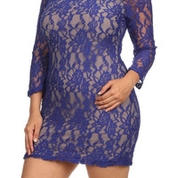 Foral Lace Mini Dress - Blue - Plus Size