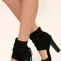 Milagros Black Suede Peep-Toe Booties