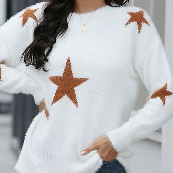 Women's new fashion star long-sleeved knitted all-match sweater