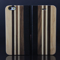 Wooden Case iPhone 6 Hard Cover Mix Leather Wood Cell Phone Ca Multi