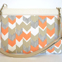 "Laptop Bag for 13.3"" MacBook Air, MacBook Pro Padded with Pocket - Orange Chevron"