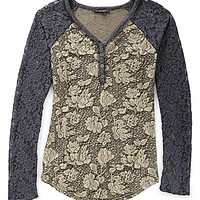 Miss Me Lace Henley Top - Charcoal/Black