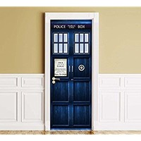 """Sticker for Door / Wall / Fridge - Policebox. Peel & Stick Removable Mural, Decole, Skin, Wrap, Decal, Cover, Poster. All sizes (32""""x80"""")"""
