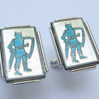 Vintage 1960's Swank blue knights cuff links, blue and silver enamel cuff links, father's day gift, blue wedding gift for groom