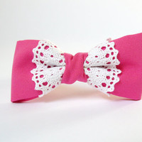 Women's bow tie lace chic fashionable trendy ladies girl - neon pink bow tie cotton white lace