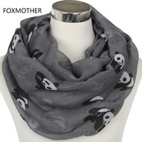 FOXMOTHER 2017 New Fashionable Grey Blue Panda Animal Infinity Scarf Scarves For Women/Ladies Gifts