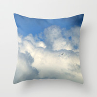 Flying through the clouds Throw Pillow by Guido Montañés