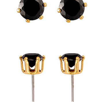 18Kt Gold Plated Earring Pair - Round Black CZ 6mm